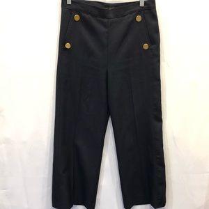 Zara navy blue wide leg crop pants size small